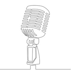 one continuous line retro microphone vector image