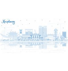 Outline haiphong vietnam city skyline with blue vector