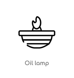 Outline oil lamp icon isolated black simple line vector