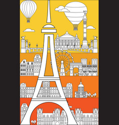 Paris skyline line art 1 vector