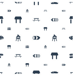 Picnic icons pattern seamless white background vector