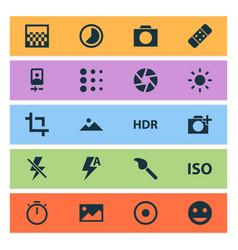 picture icons set with landscape blur automatic vector image