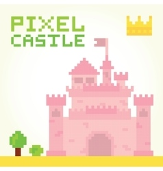 Pixel art girl castle isolated vector image