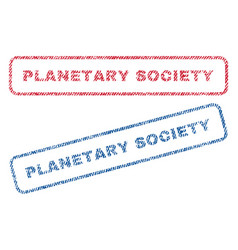 Planetary society textile stamps vector