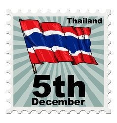 post stamp of national day of Thailand vector image
