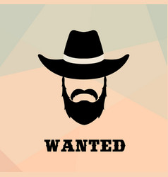 Poster wanted with bandit portrait people icon vector