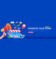 promotion online store hand with megaphone vector image