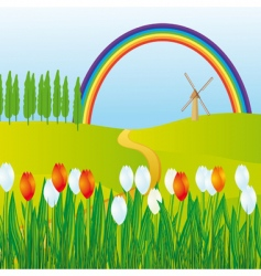 rainbow meadows vector image