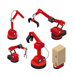 robots set with hydraulic mechanisms banner vector image