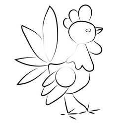 rooster drawing on white background vector image