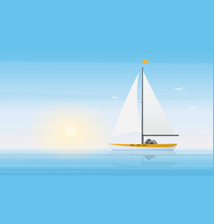 sailboat yacht in clear blue water waves sea vector image
