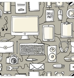 Seamless pattern with digital office devices vector