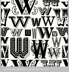 seamless vintage pattern letter W vector image