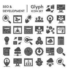 seo and development glyph icon set computing vector image