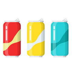set drinks in aluminum cans vector image