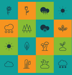 set of 16 ecology icons includes snowstorm cloud vector image