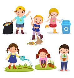 Set of cute kids volunteers vector