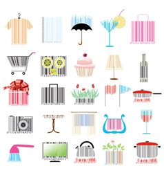 set of stylized barcodes vector image