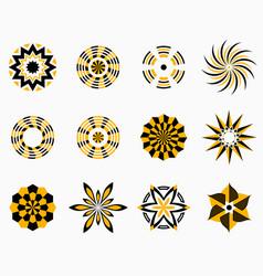 set of symmetric geometric shapes vector image