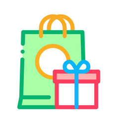 Shopping bag with gift inside icon outline vector