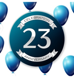 Silver number twenty three years anniversary vector