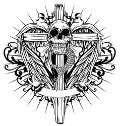 Skull cross wings vector
