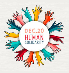 Solidarity day with diversity hands vector