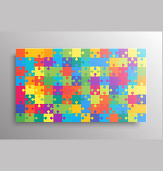 the color pieces background puzzle jigsaw banner vector image