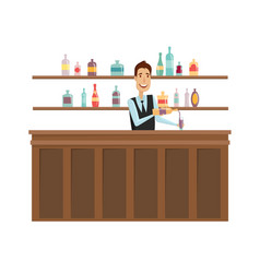The man at the bar flat and cartoon style on a vector