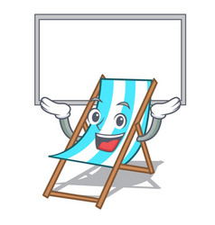 Up board beach chair character cartoon vector