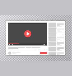 video and media player interface template browser vector image