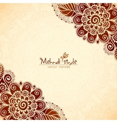 Vintage flowers ethnic background in Indian mehndi vector image