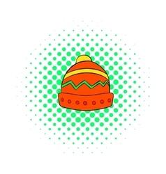 Winter hat icon comics style vector