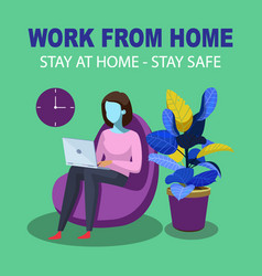 work from home - stay at home vector image