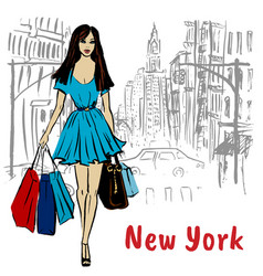 Young man and woman in new york vector