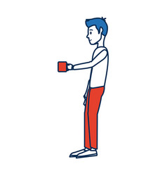 Young man standing holding coffee cup break vector