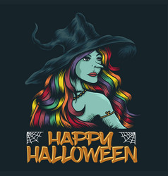 young witch happy halloween vector image