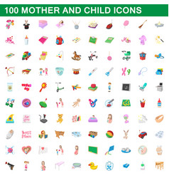 100 mother and child icons set cartoon style vector image