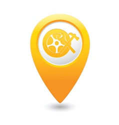 car wheel service icon on yellow map pointer vector image vector image