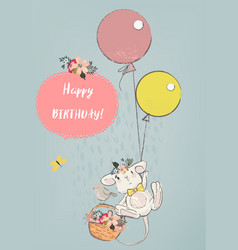 cute mouse with balloons vector image vector image