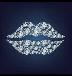Lips shape made up a lot of diamond vector image