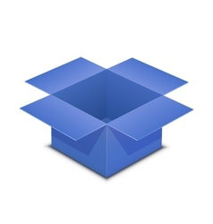 Open blue box on white vector image