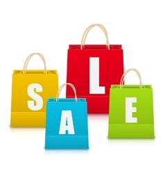Set of Colorful Sale Shopping Bags Isolated vector image vector image
