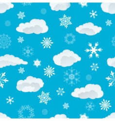 snowflakes and clouds vector image vector image