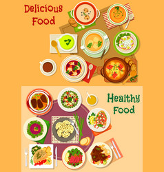 soup salad and meat dishes icon set design vector image