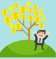 The glad businessman is standing under the tree vector