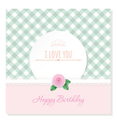 Birthday greeting card template round frame on vector