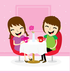 boy and girl sweetheart meeting at shop cute carto vector image