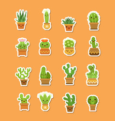 cacti in pots flat style stickers vector image vector image
