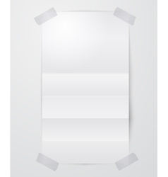 Folded paper sheet with scotch tape vector image